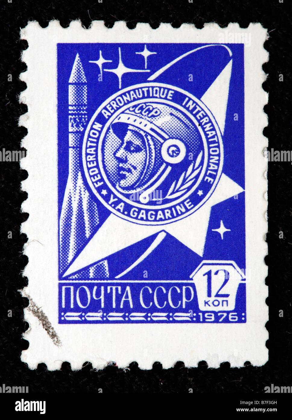 International aeronautic federation, Yuri Gagarin, postage stamp, USSR, 1976 - Stock Image