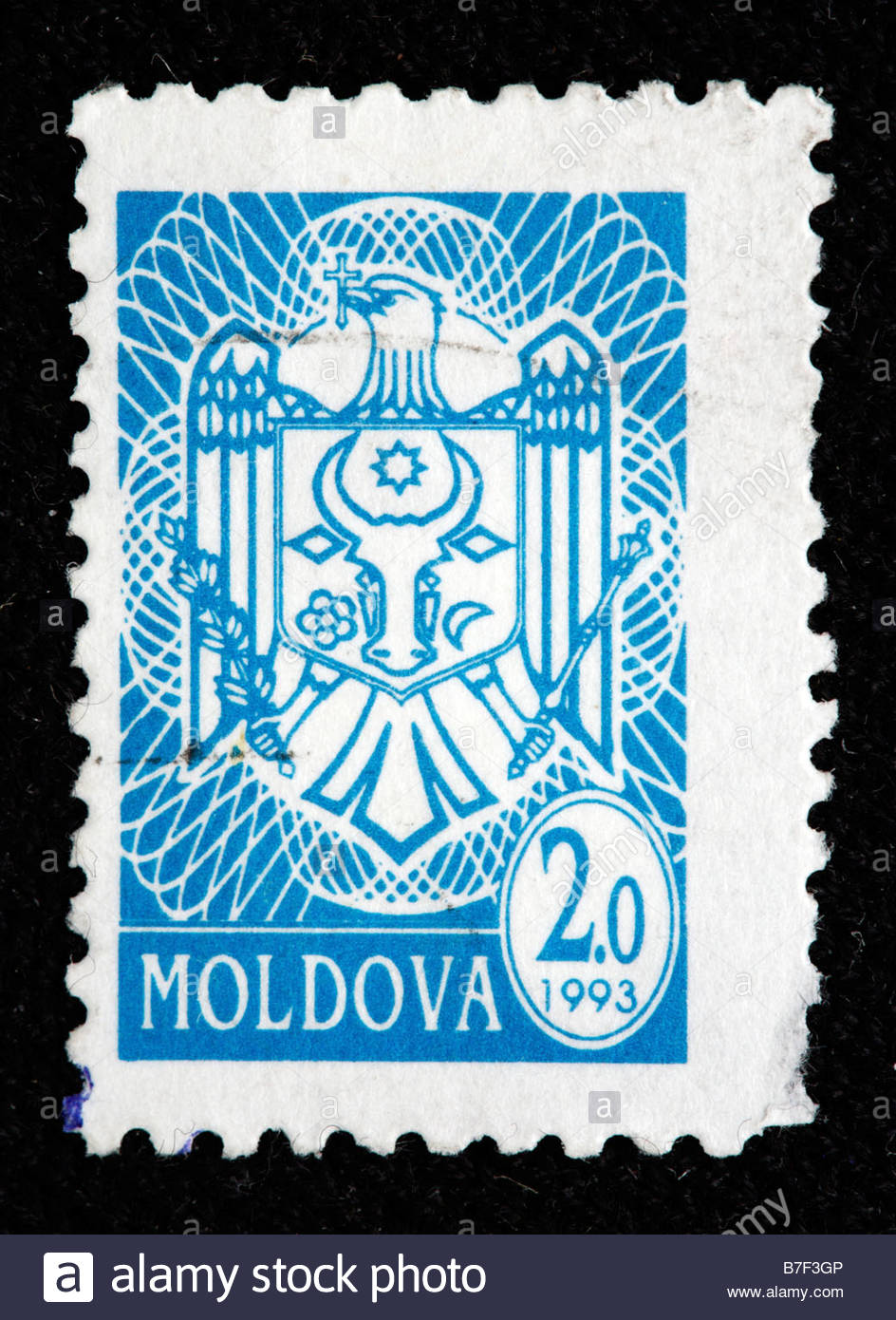 Coat of arms, postage stamp, Moldova, 1993 - Stock Image