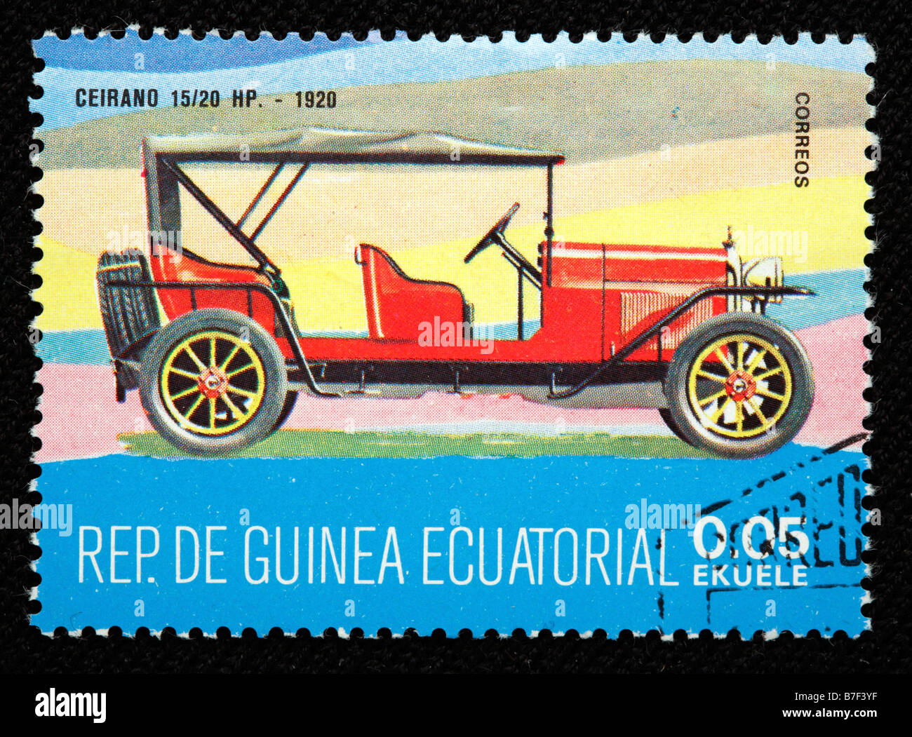 History of transport car Ceirano 15 20 HP (1920), postage stamp, Equatorial Guinea - Stock Image