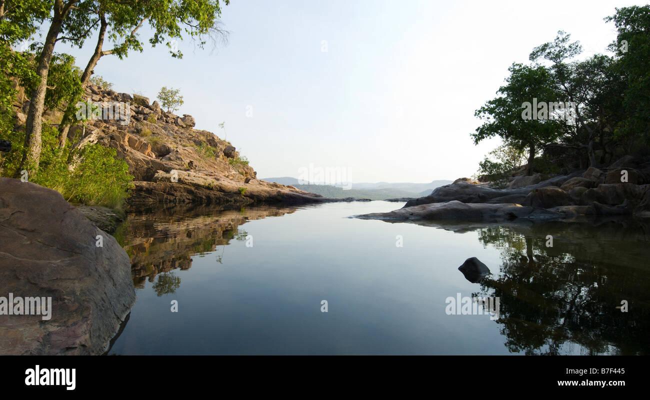 Plunge pool above Gunlom in Kakadu National Park - Stock Image