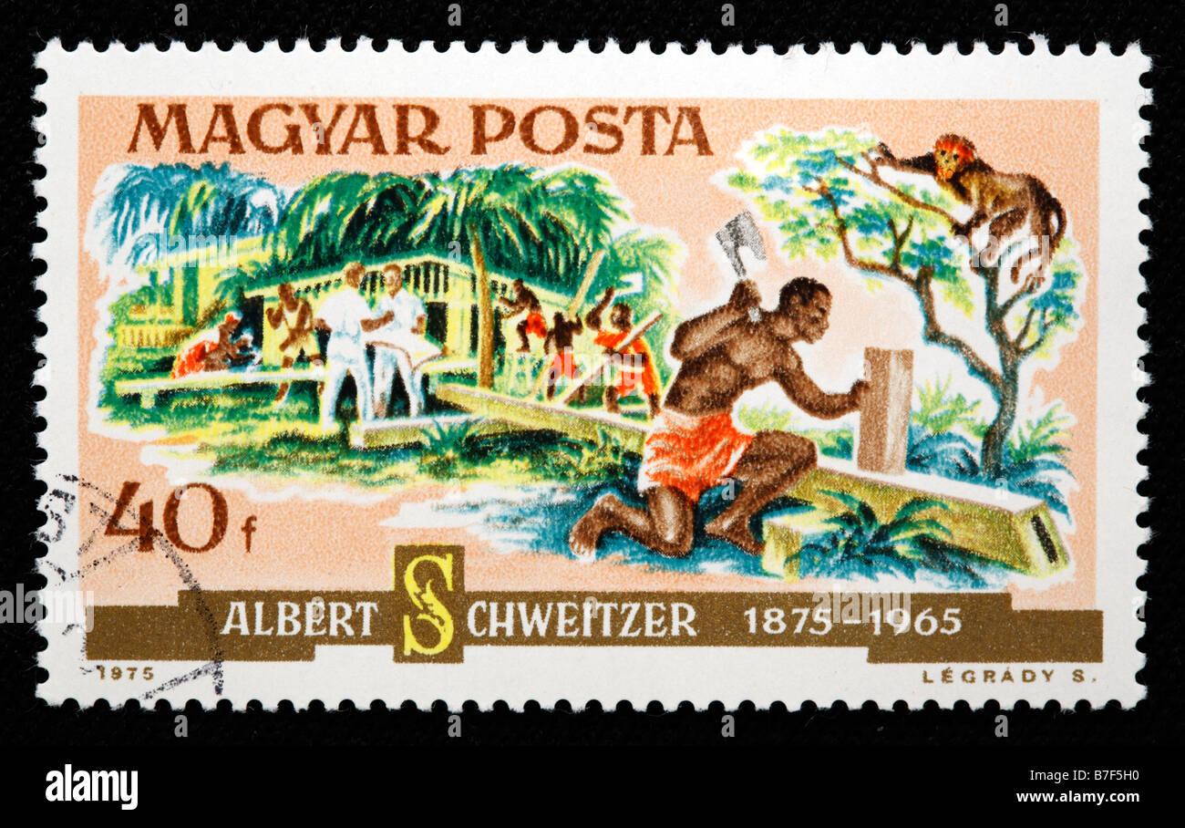 Albert Schweitzer (1875-1965), Alsatian theologian, musician, philosopher, physician, postage stamp, Hungary, 1975 - Stock Image