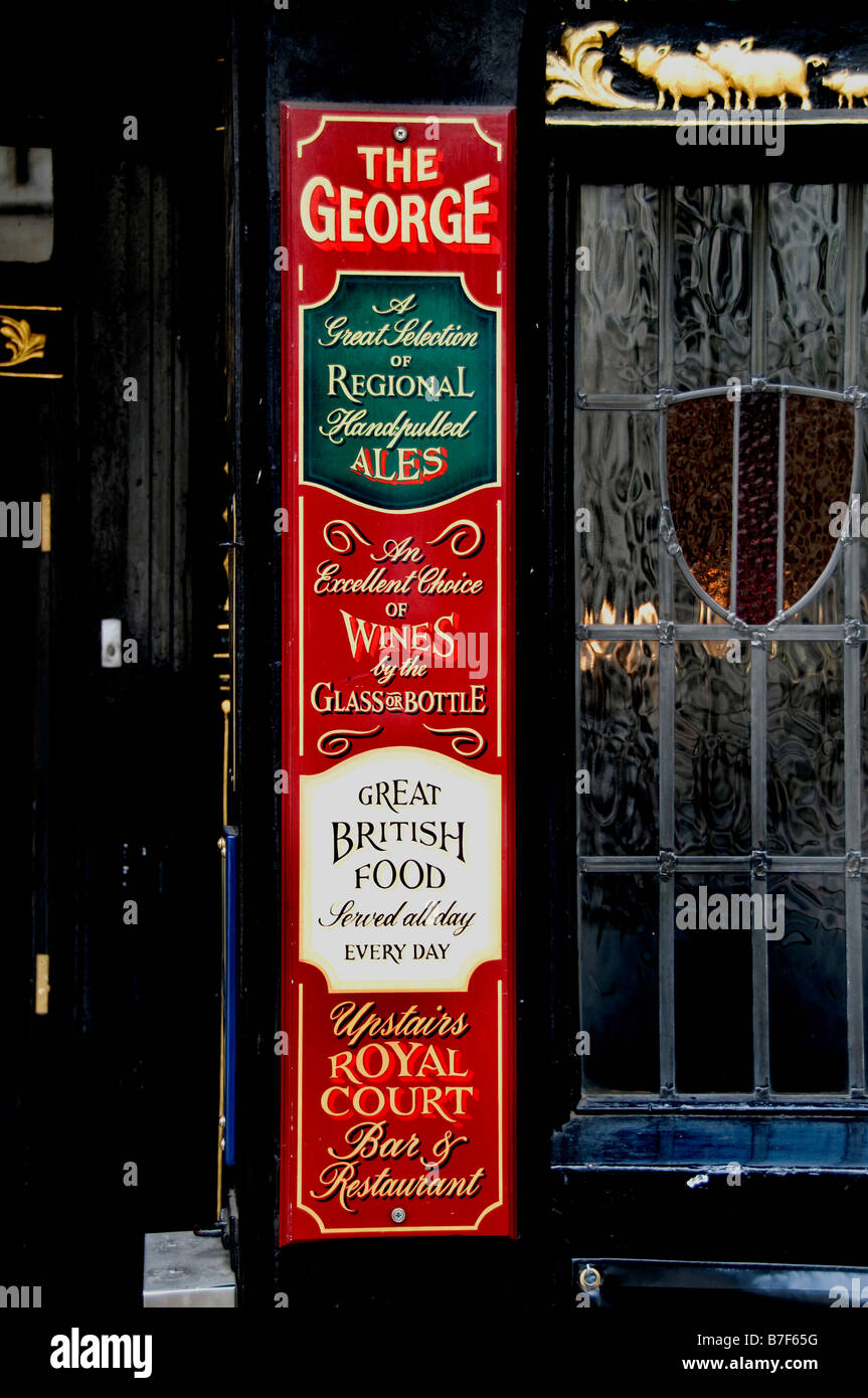 Pub the George London Strand Fleet Street Holborn Victorian founded in 1723 - Stock Image