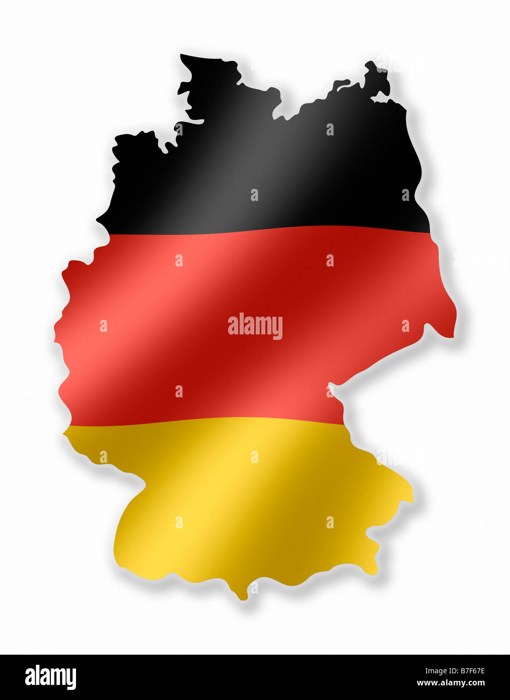 Germany German Deutschland Country Map Outline With National Flag Inside - Stock Image