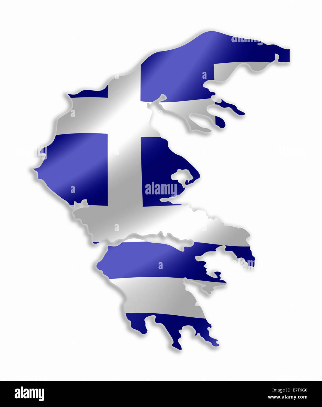 Country Of Greece Map.Greece Greek Country Map Outline With National Flag Inside Stock