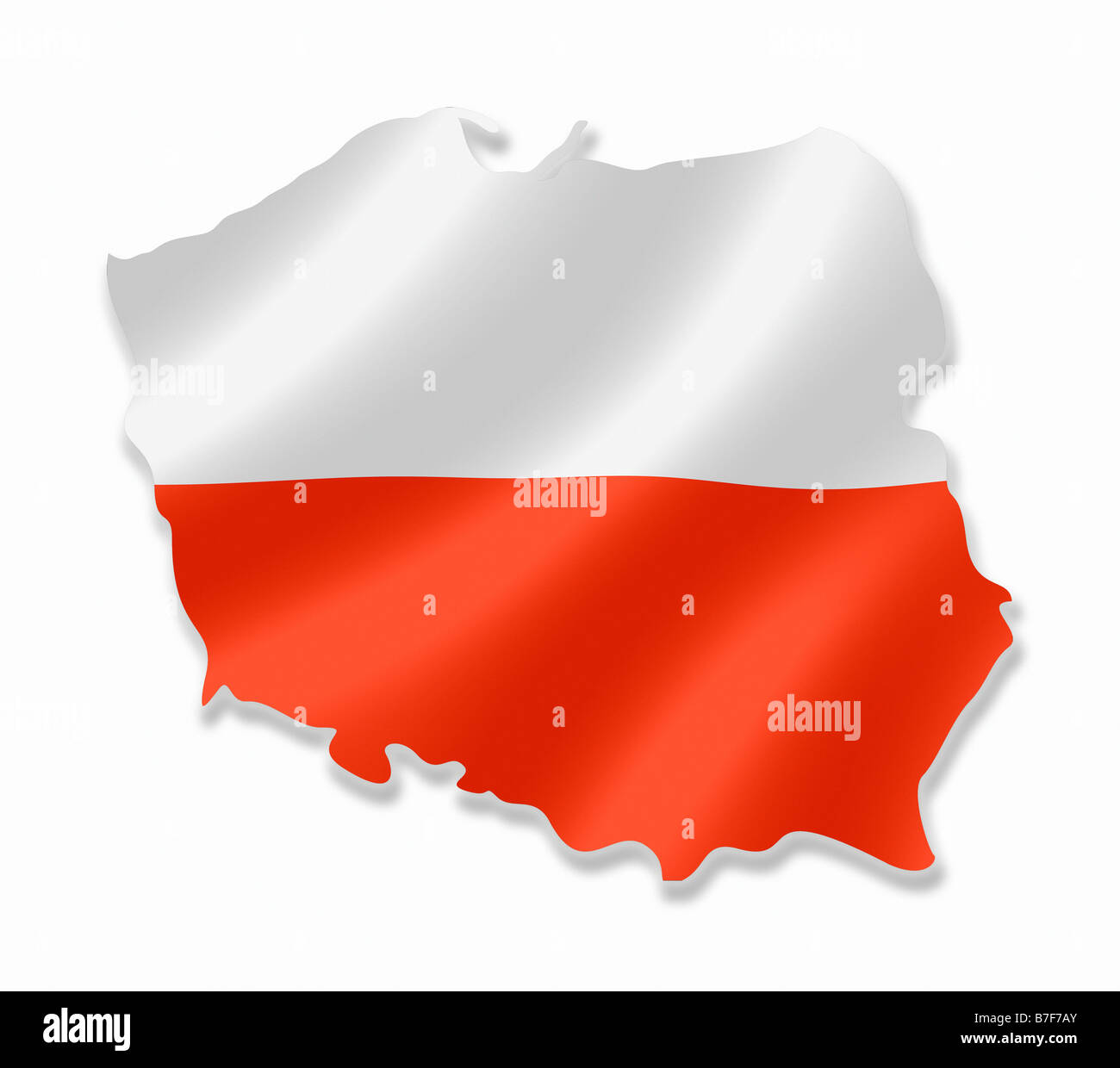 Poland Polish Country Map Outline With National Flag Inside Stock ...