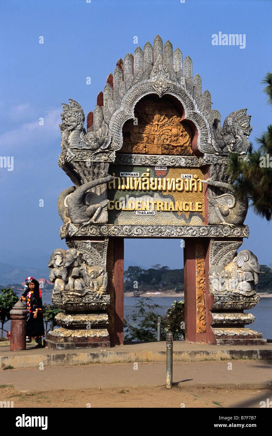 Golden Triangle Monument, Lisu Girl and Mekong River, at Junction of Burma, Laos & Thailand, Sop Ruak, Chiang - Stock Image