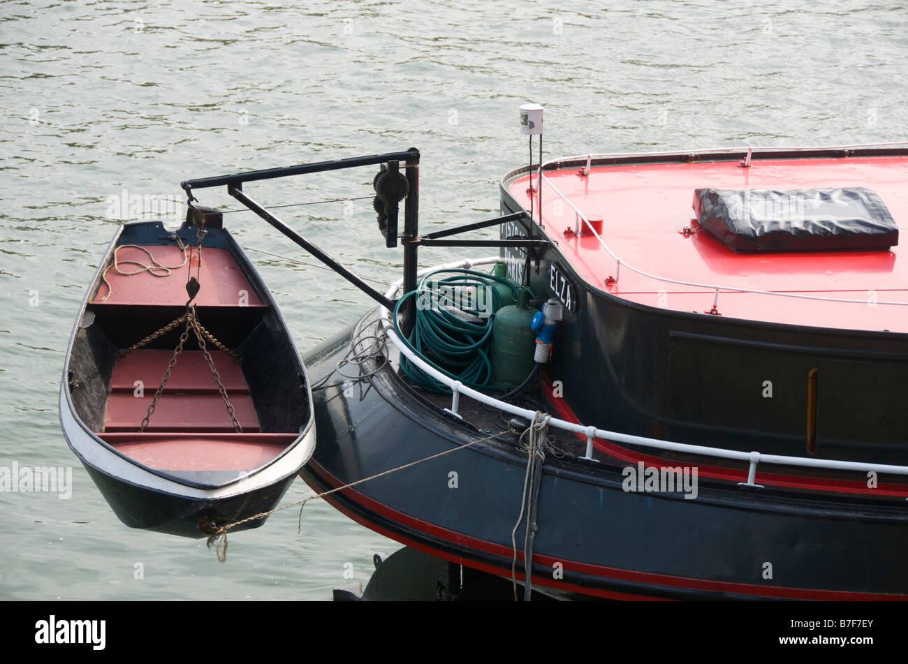 Lifeboat on a barge. Paris. Ile de France. France - Stock Image