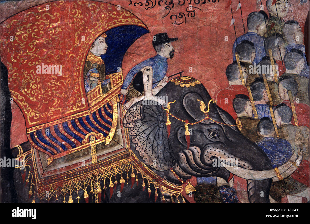 Thai Asian Elephant Used in Warfare & Soldiers, c19th Mural or Wall Paintings by Thit Buaphan, Wat Phumin Temple, - Stock Image