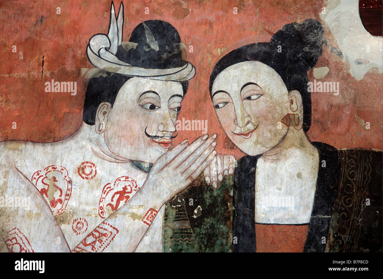 Thai Lovers Seduction, c19th Mural or Wall Painting by Thit Buaphan, Wat Phumin Temple, Nan, northern Thailand - Stock Image