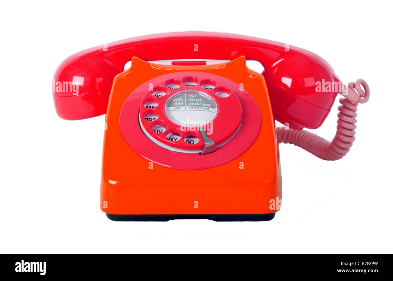 Traditional style 1970's 746 british telecom telephone on a pure white background. - Stock Image