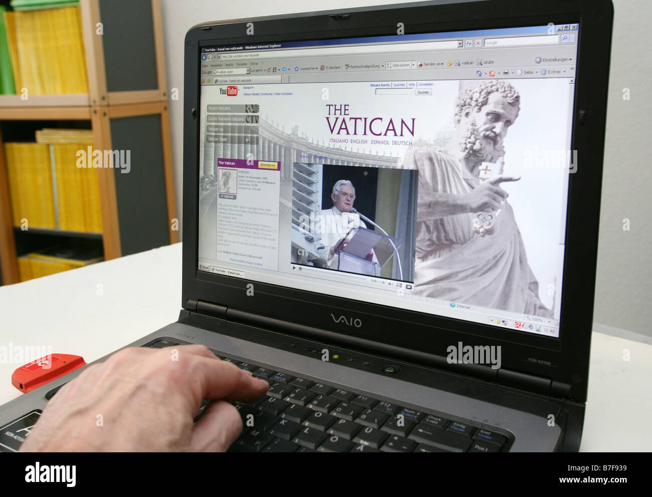 screenshot of the vaticans internet platform at youtube shows Pope Benedikt XVI. - Stock Image
