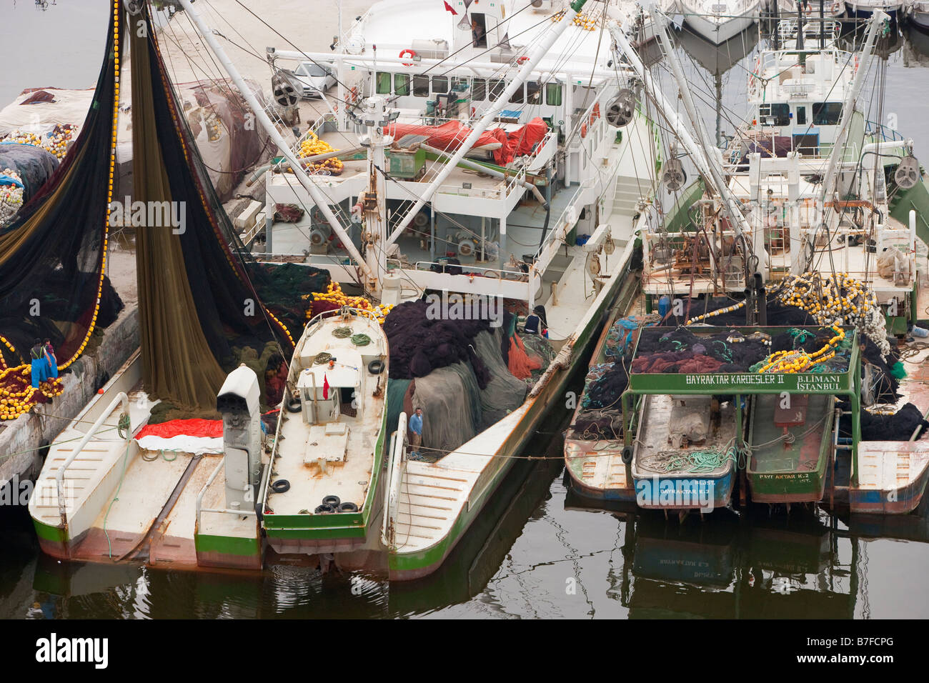Aerial view of moored fishing boats Buyukcekmece Istanbul Turkey - Stock Image