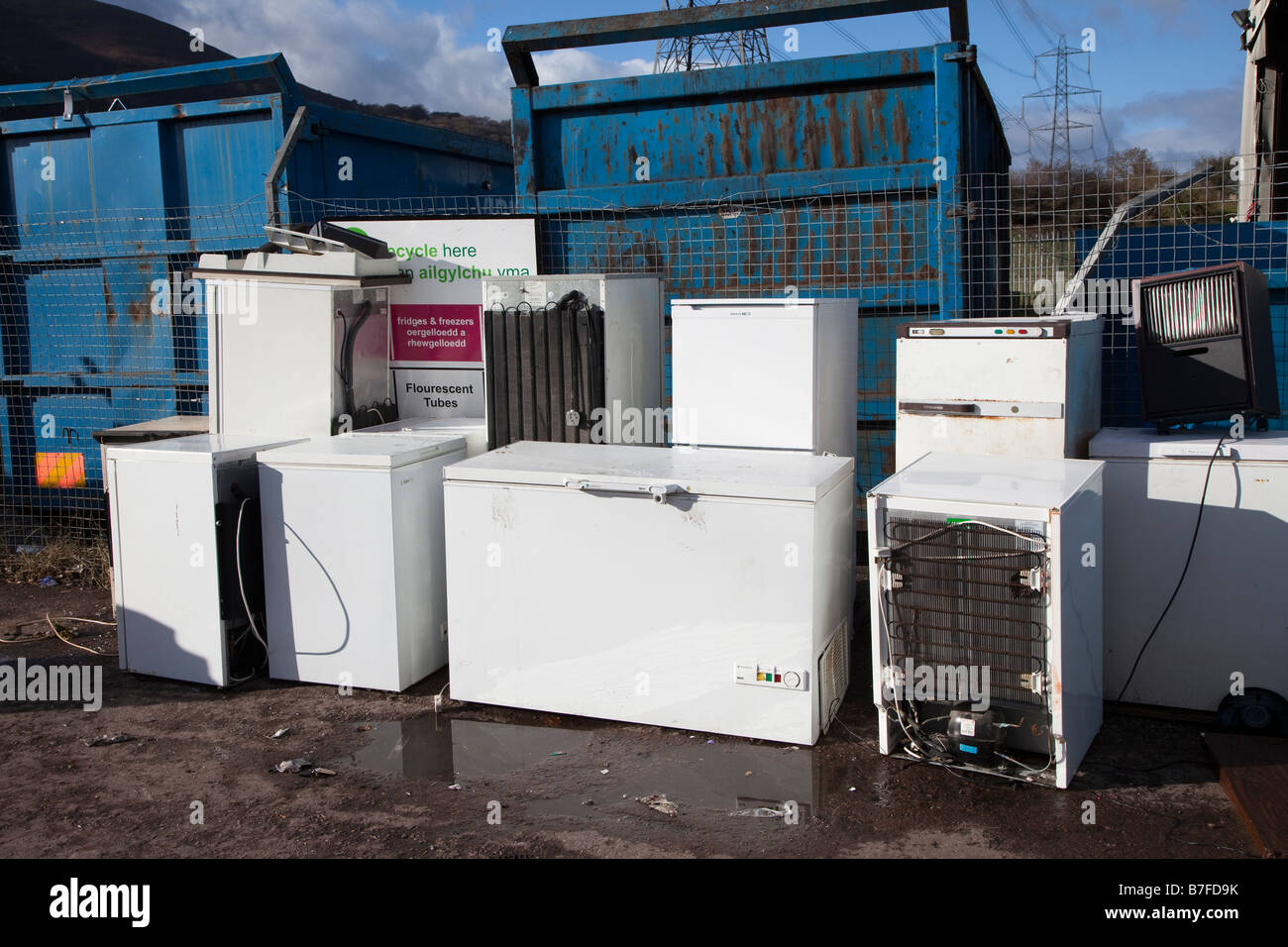 Disposal of electrical white goods at recycling depot Wales UK - Stock Image