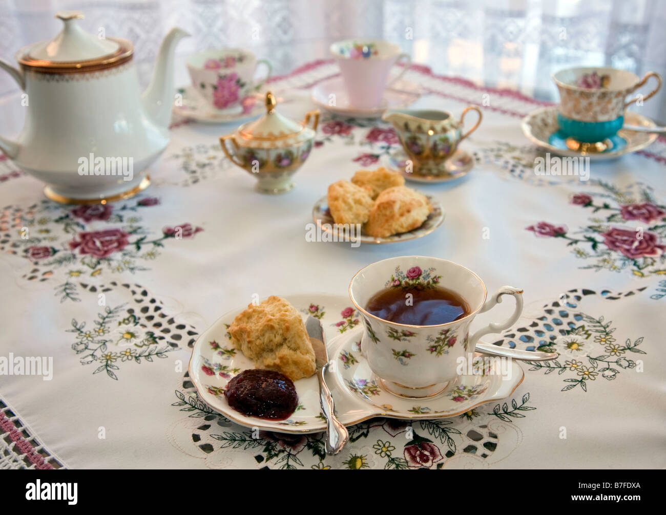 Traditional English High Tea with Tea Biscuit, Table setting In door ...