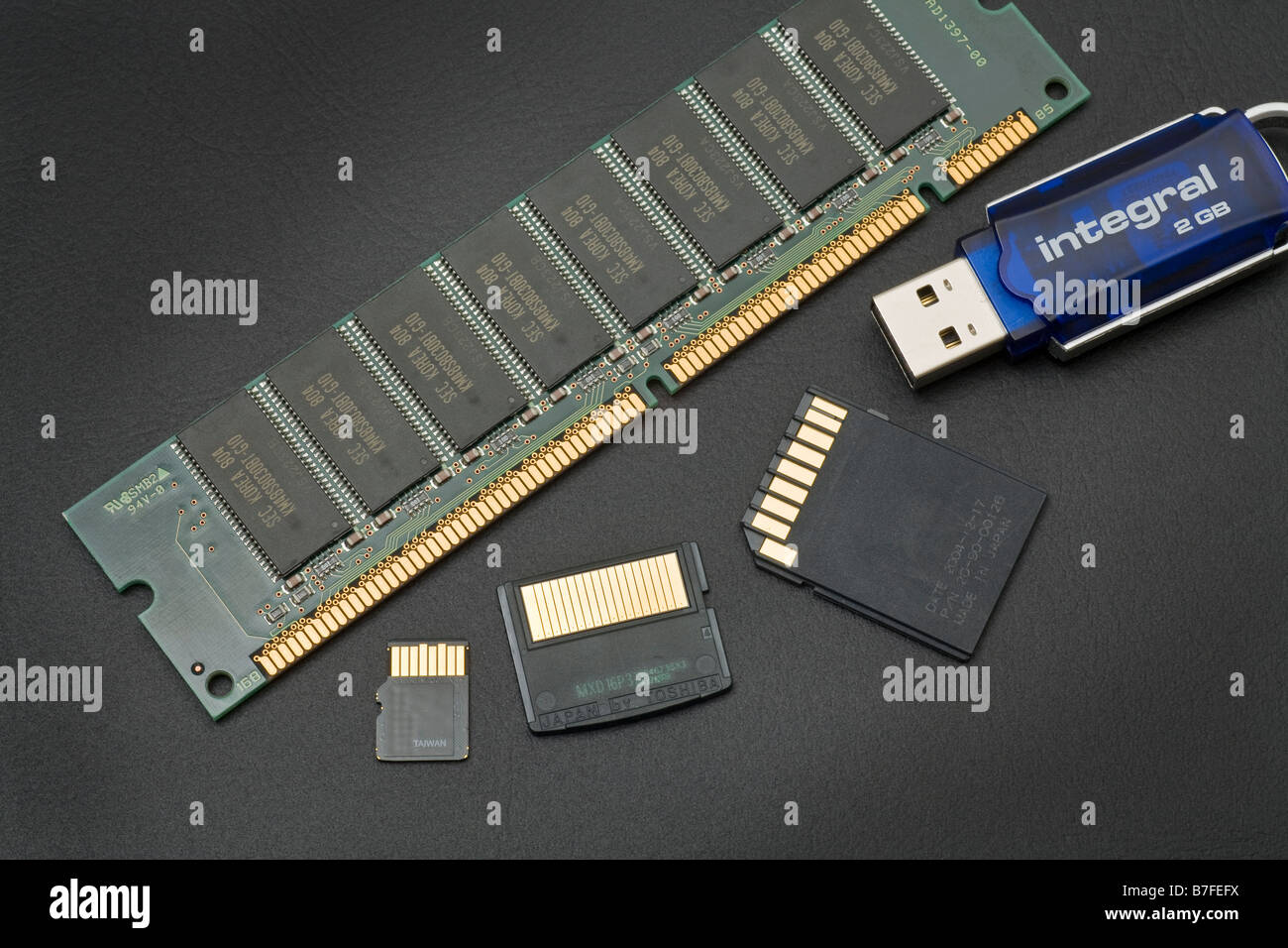 flash and conventional memory types compared from Korea Taiwan Japan - Stock Image