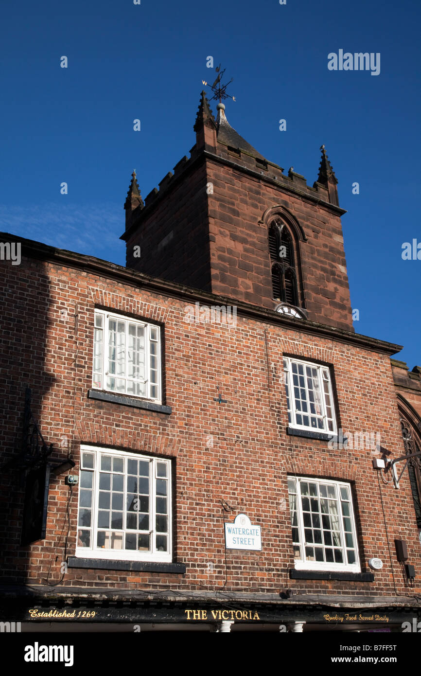 St Peter's Church at the Cross in Chester City centre against a cloudless blue sky - Stock Image