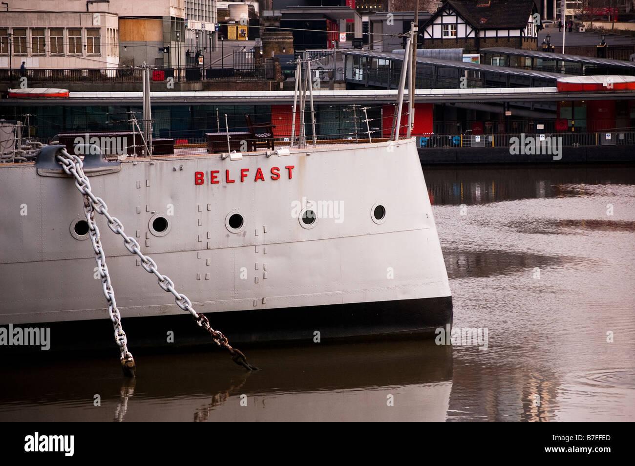 Stern of HMS Belfast - Stock Image
