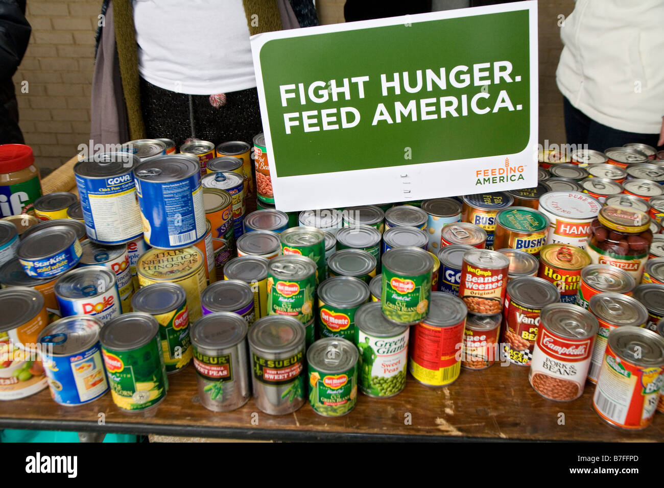 Volunteers Collect Canned Goods for Food Banks - Stock Image