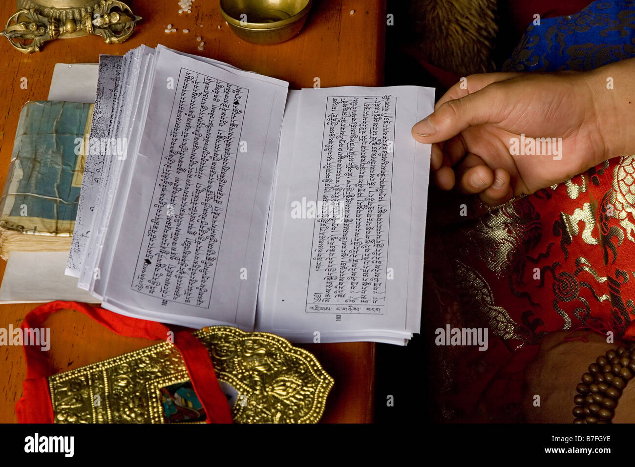 Buddhist text - Stock Image