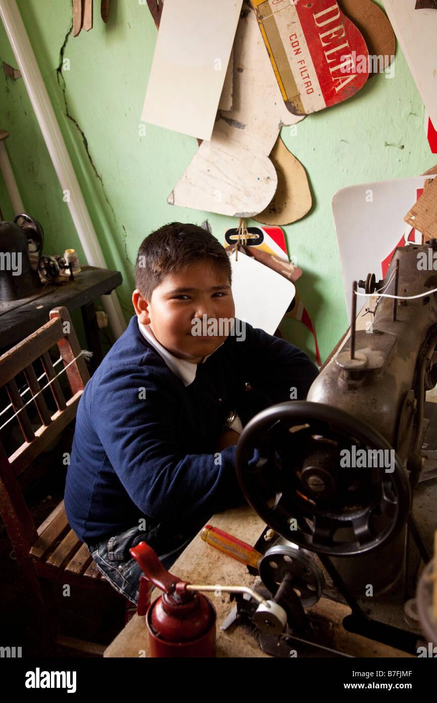 Sandal maker La Noria Village Near Mazatlan Sinaloa Mexico - Stock Image