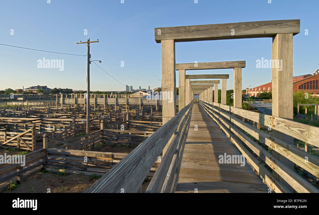 Texas Fort Worth Stockyards National Historic District old no longer used cattle pens - Stock Image