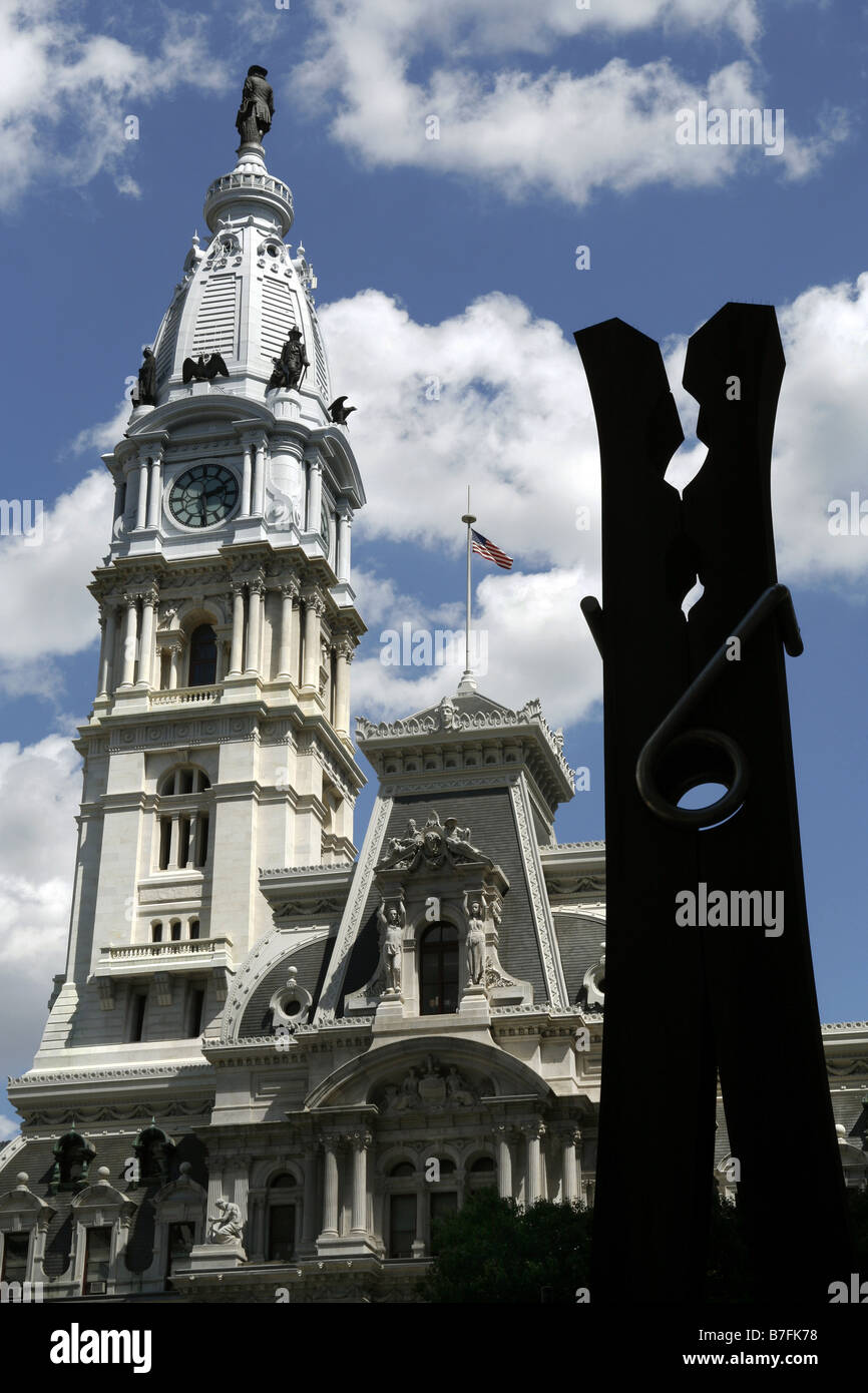 City Hall & Claes Oldenburg's Clothespin, Philadelphia, Pennsylvania, USA - Stock Image