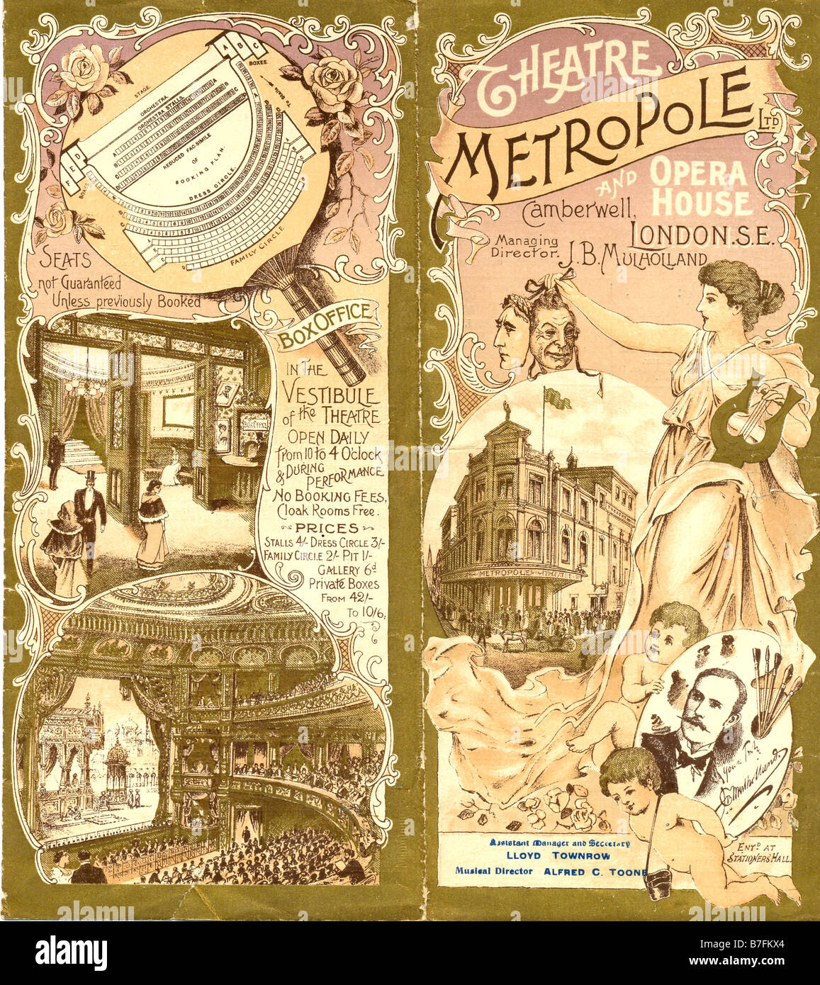Programme for Theatre Metropole and Opera House, Camberwell, London S E - Stock Image