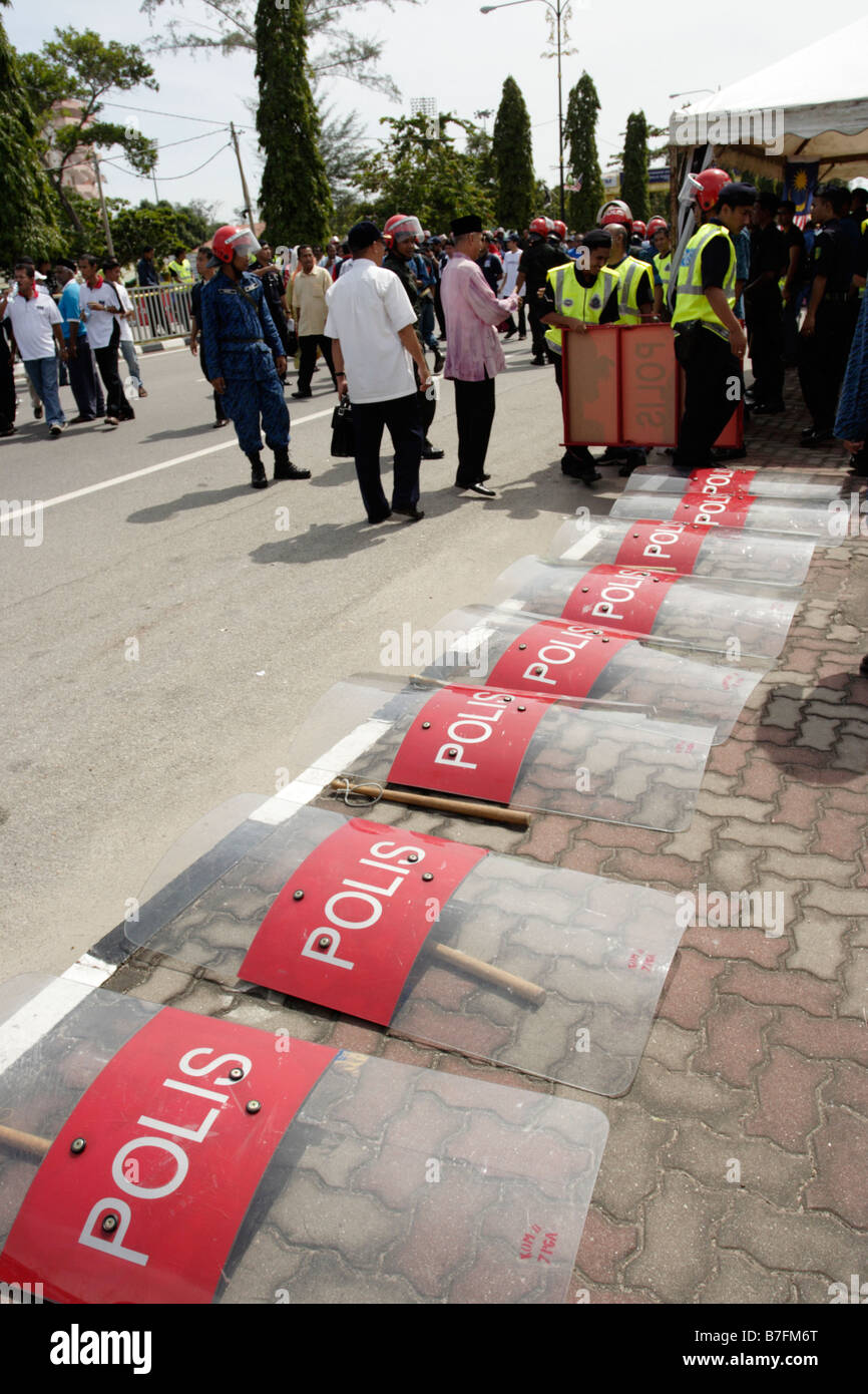 Anti-riot police shields in Malaysia. - Stock Image