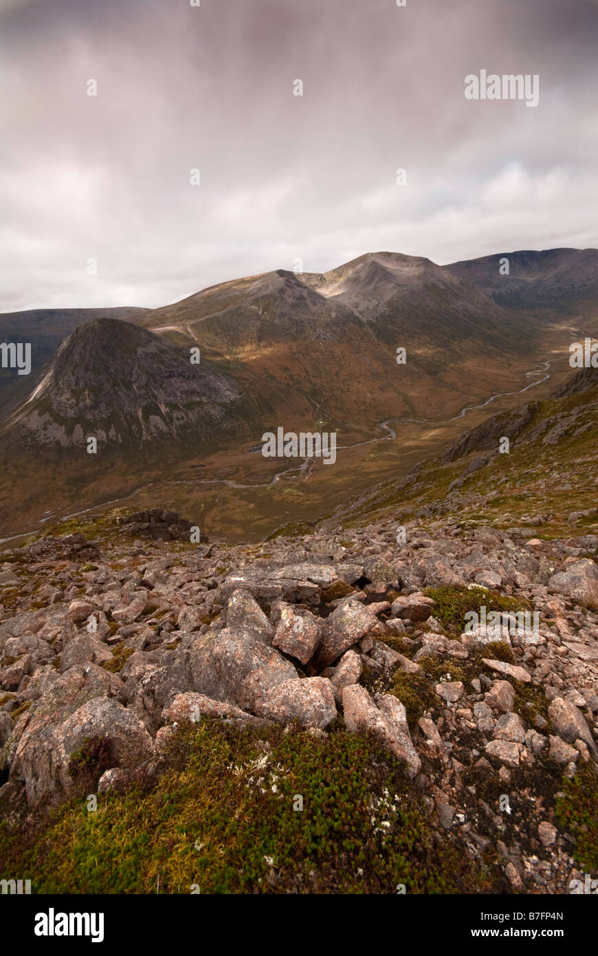 A view from Carn a Mhaim ,across the pass named the Laraig Ghru, towards the Devils Point, Cairn Toul and the Angels - Stock Image