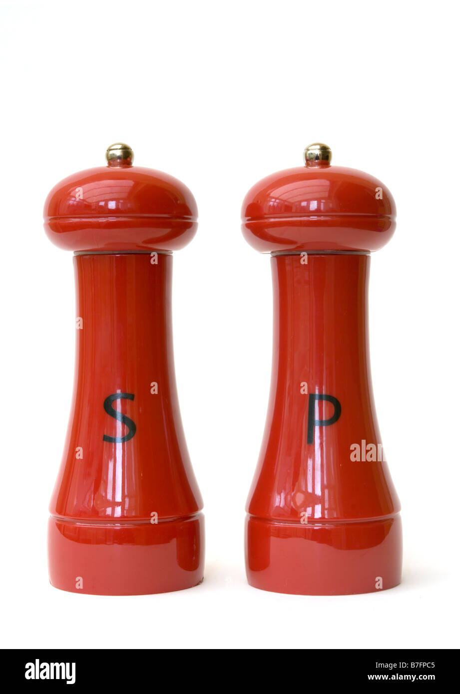 Red Salt and Pepper Pots - Stock Image