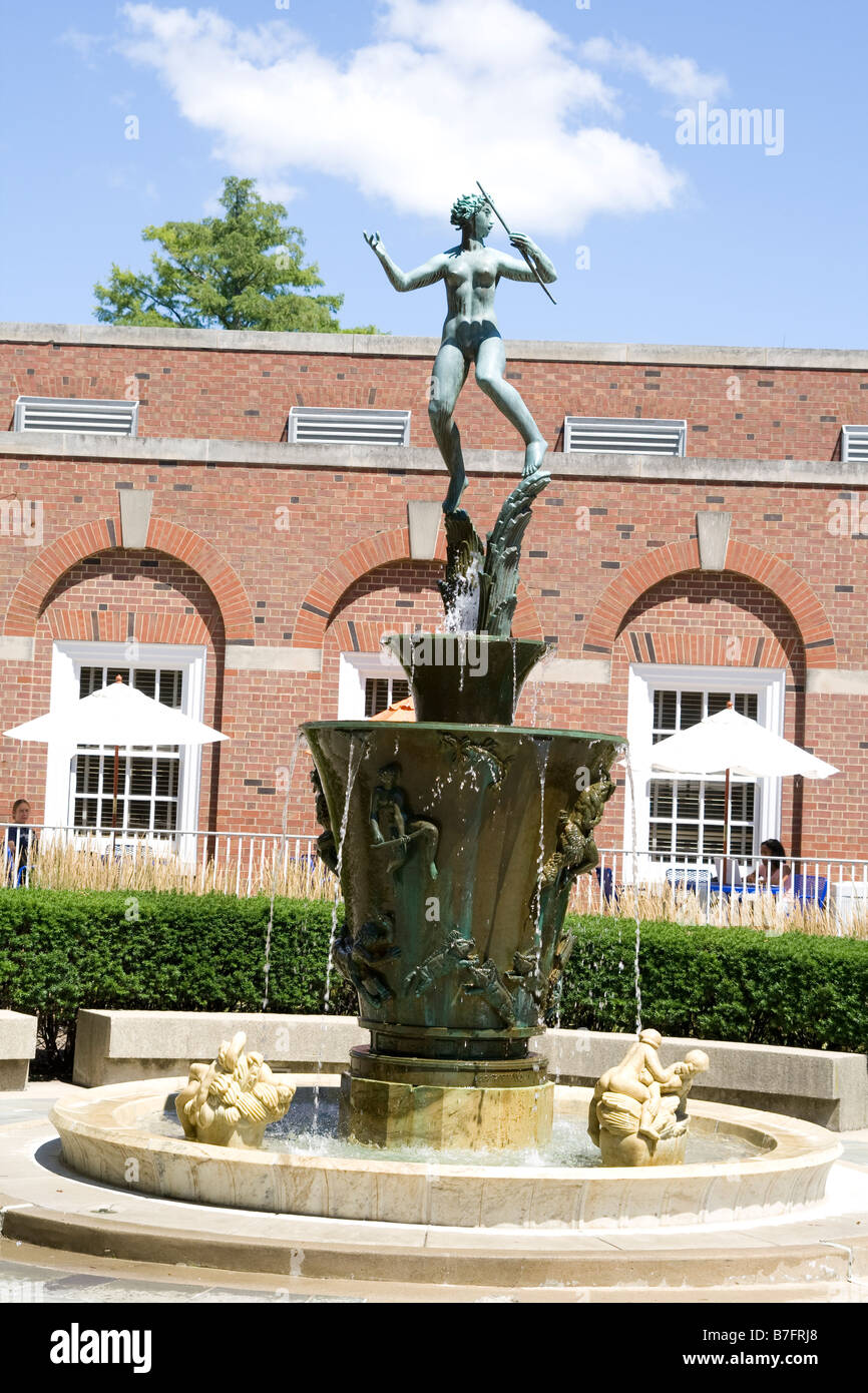 Fountain of the campus of University of Illinois at Urbana Champaign USA - Stock Image