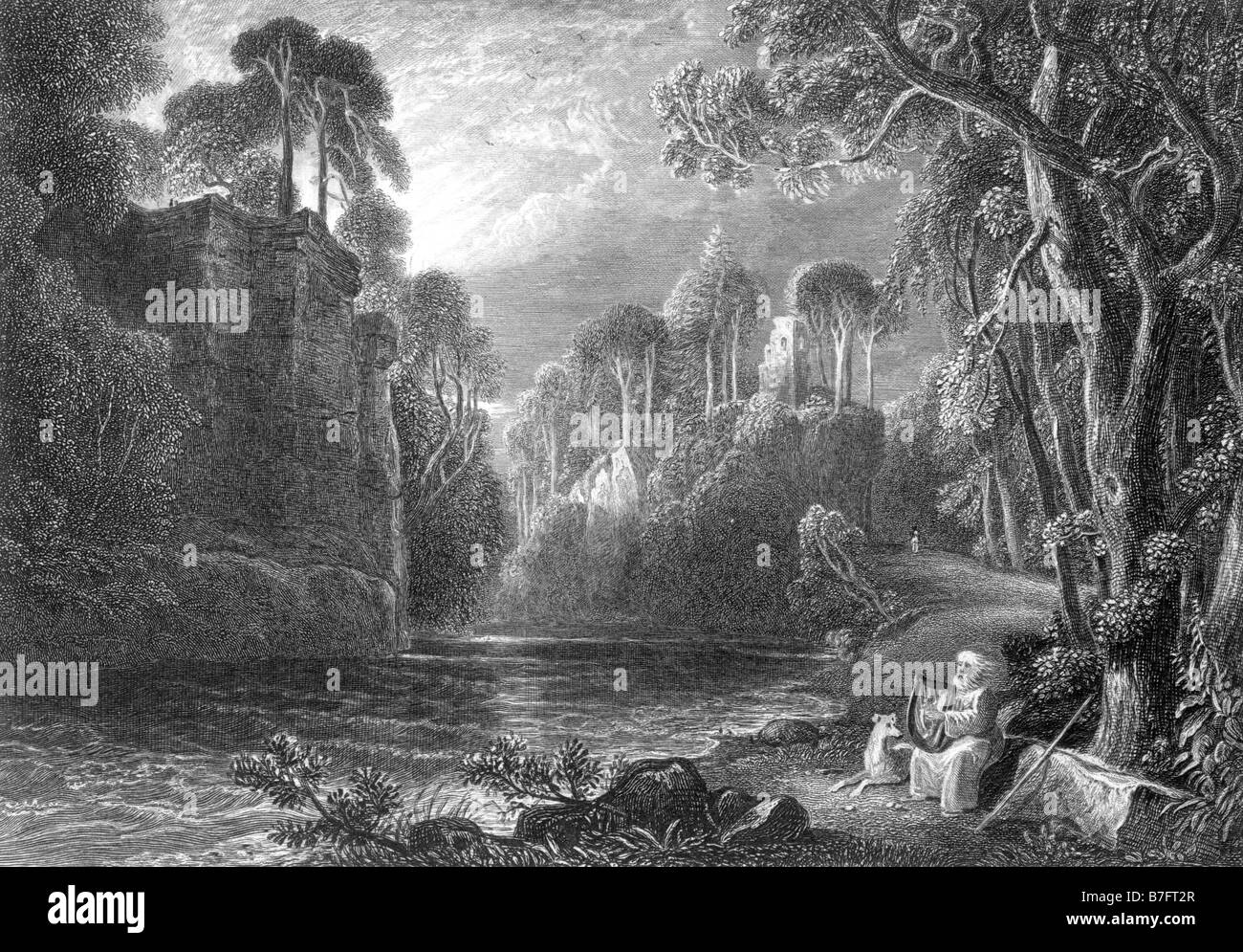 Scene on the river Lugar Auchinleck mentioned by Robert Burns in his song Nanni Engraving by David Octavius Hill - Stock Image