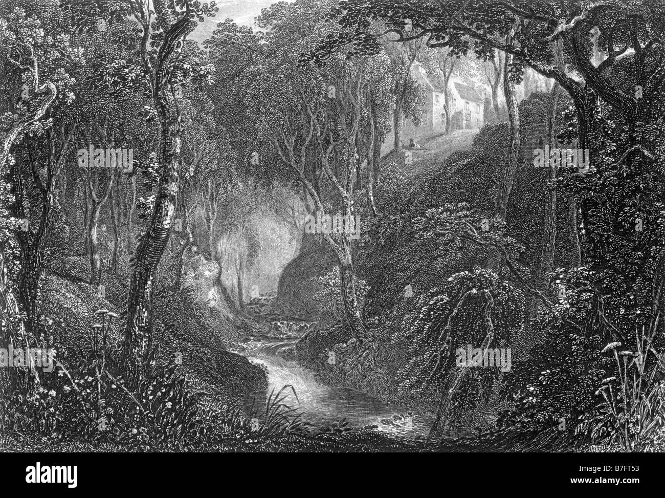 Craigieburn Wood Moffatdale Dumfrieshire Engraving by David Octavius Hill 1802 to 1870 19th Century Illustration - Stock Image