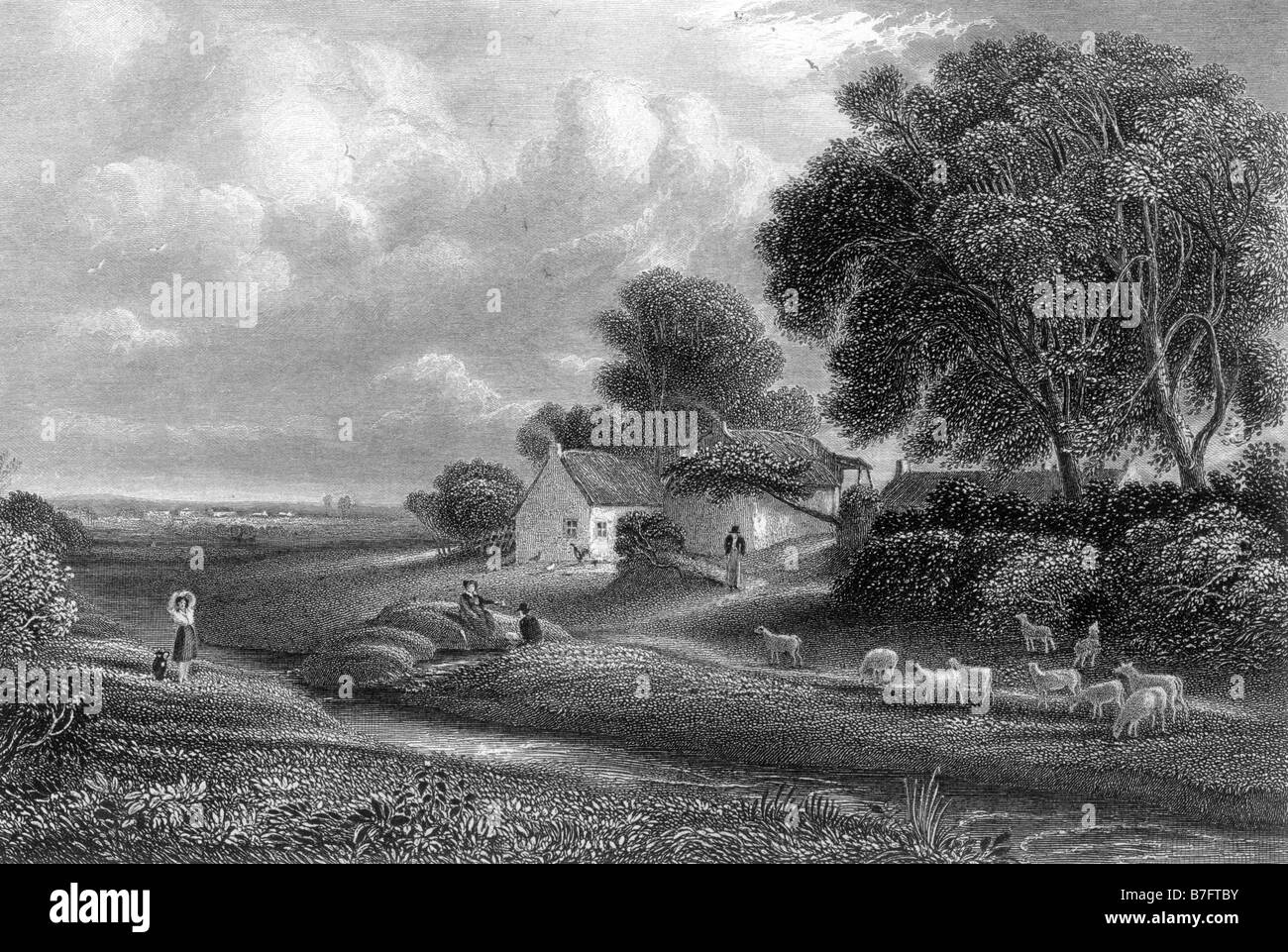 Brow on the Solway Dumfrieshire Scotland Engraving by David Octavius Hill 1802 to 1870 19th Century Illustration - Stock Image