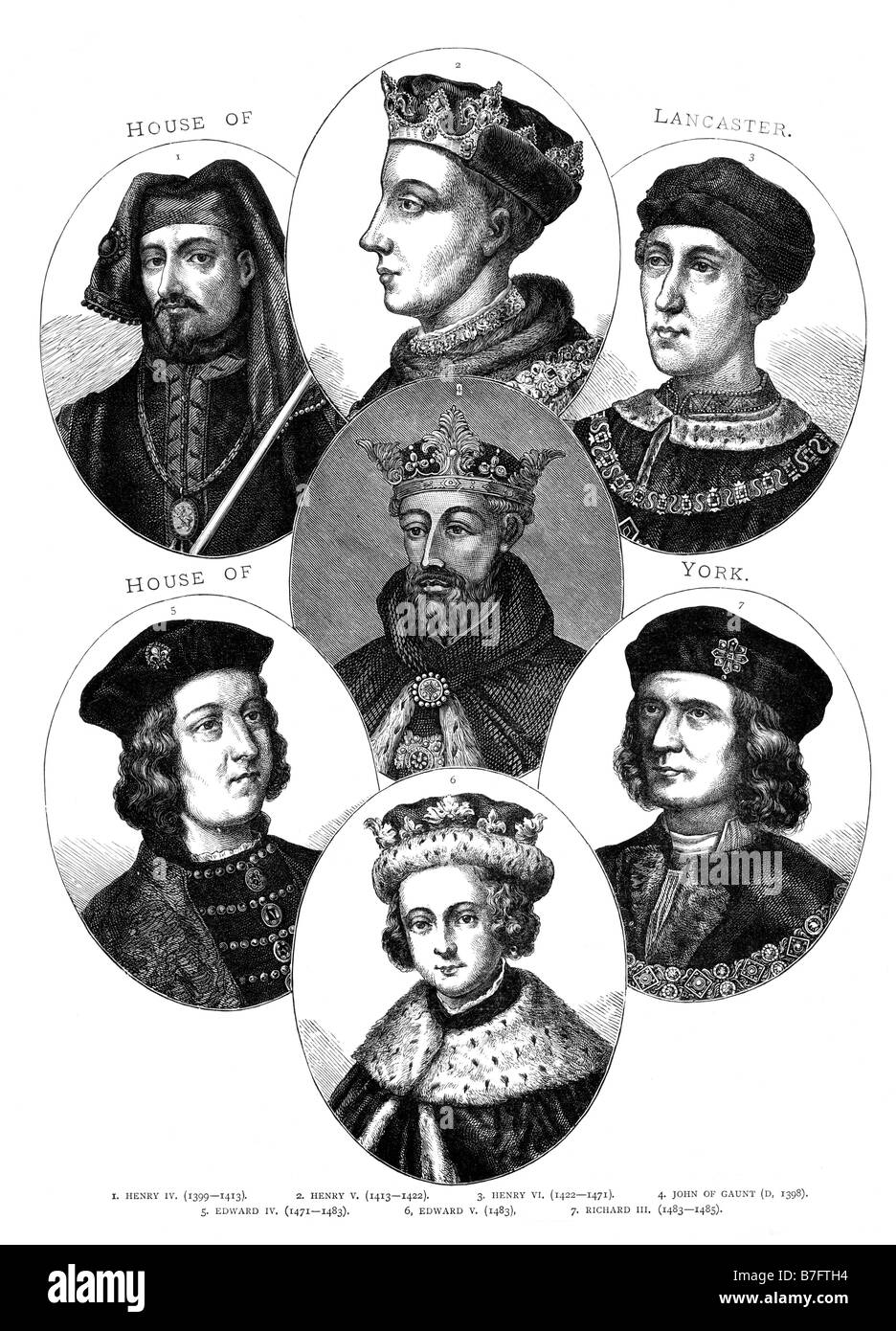 English Monarchs 1399 to 1483 Portraits Illustrations - Stock Image