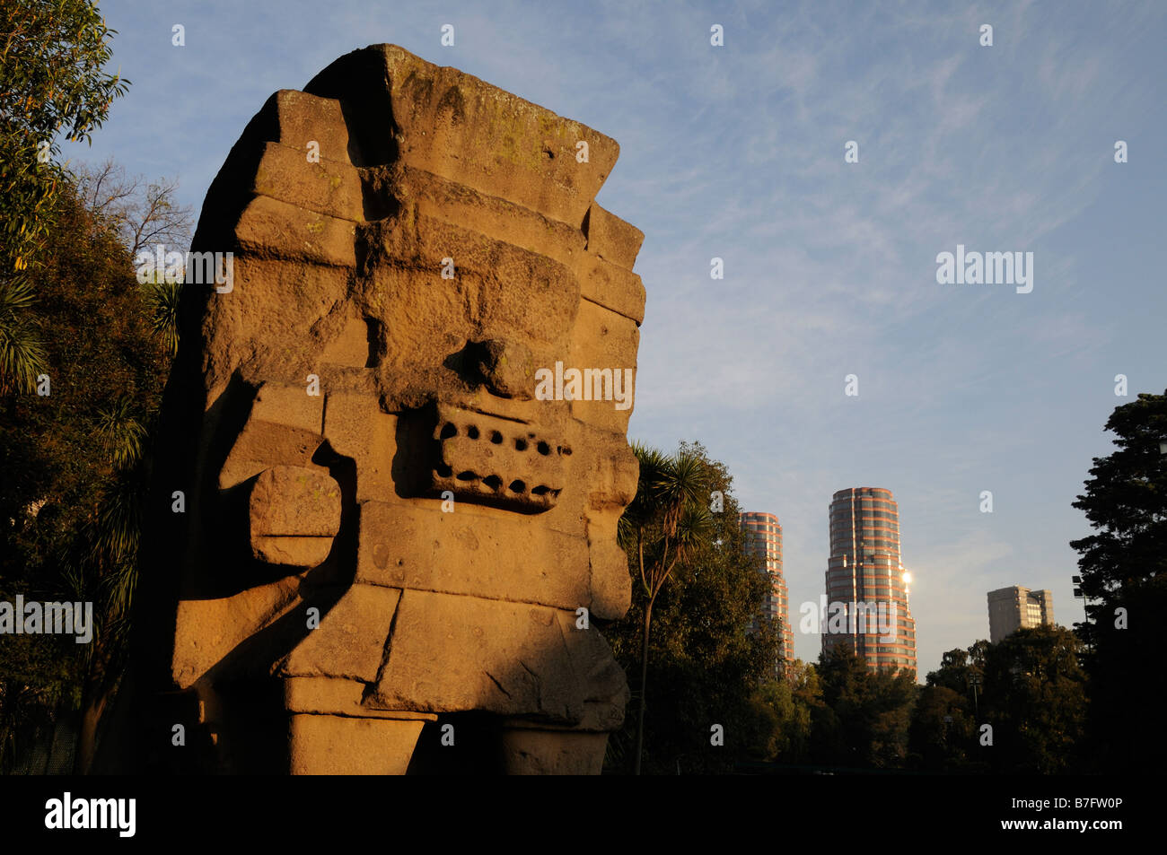 Statue of rain god Tlaloc in front of Anthropological museum, Mexico City - Stock Image