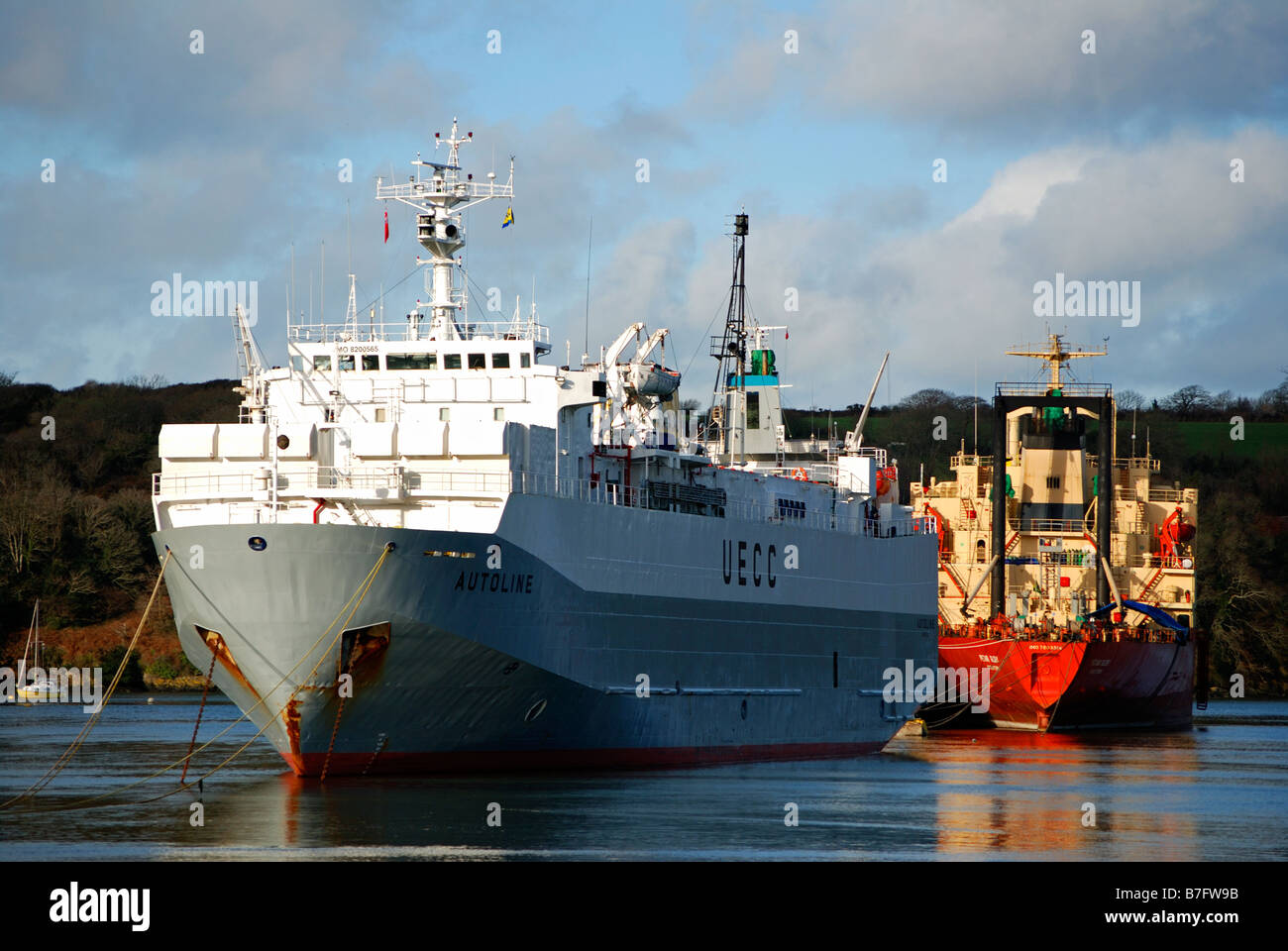 cargo ships 'laid up' in the river fal near truro,cornwall,uk - Stock Image