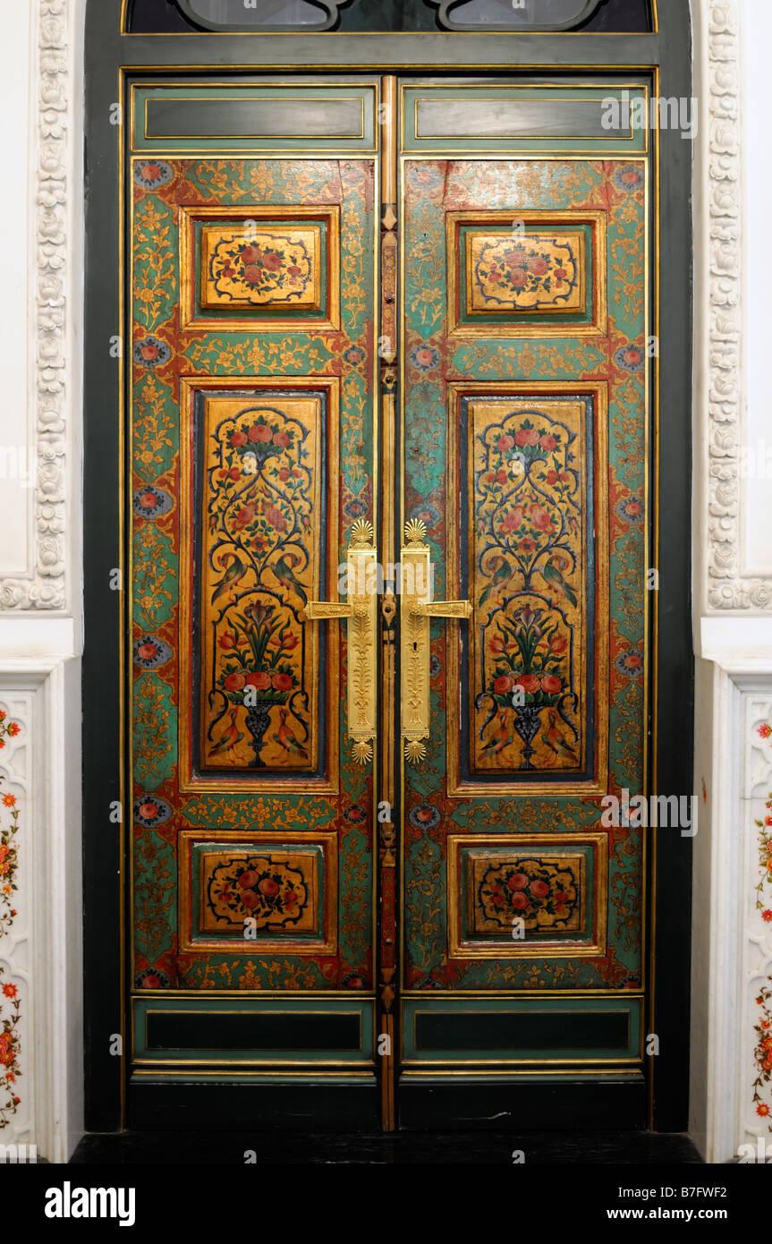 Interior Room Detail Door Opulent Decorative Decorated Ornate Private  Library Niavaran Complex Museum Tehran Iran