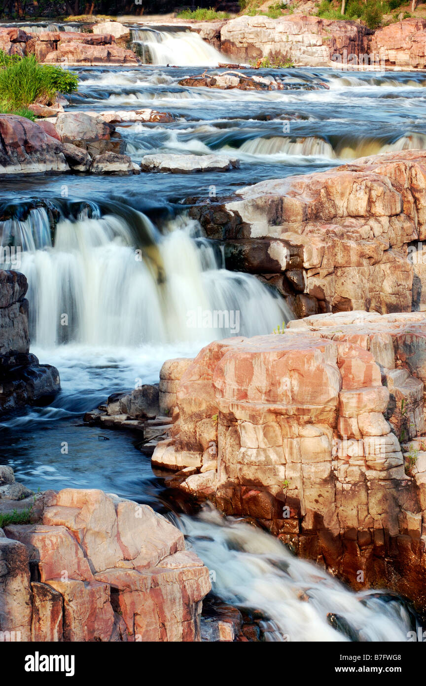waterfalls on the Big Sioux River in Sioux Falls, South Dakota. USA - Stock Image