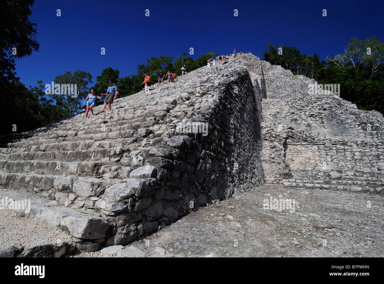 Giant pyramid of Nohoch Mul, Coba Maya ruins, Yucatan, Mexico - Stock Image