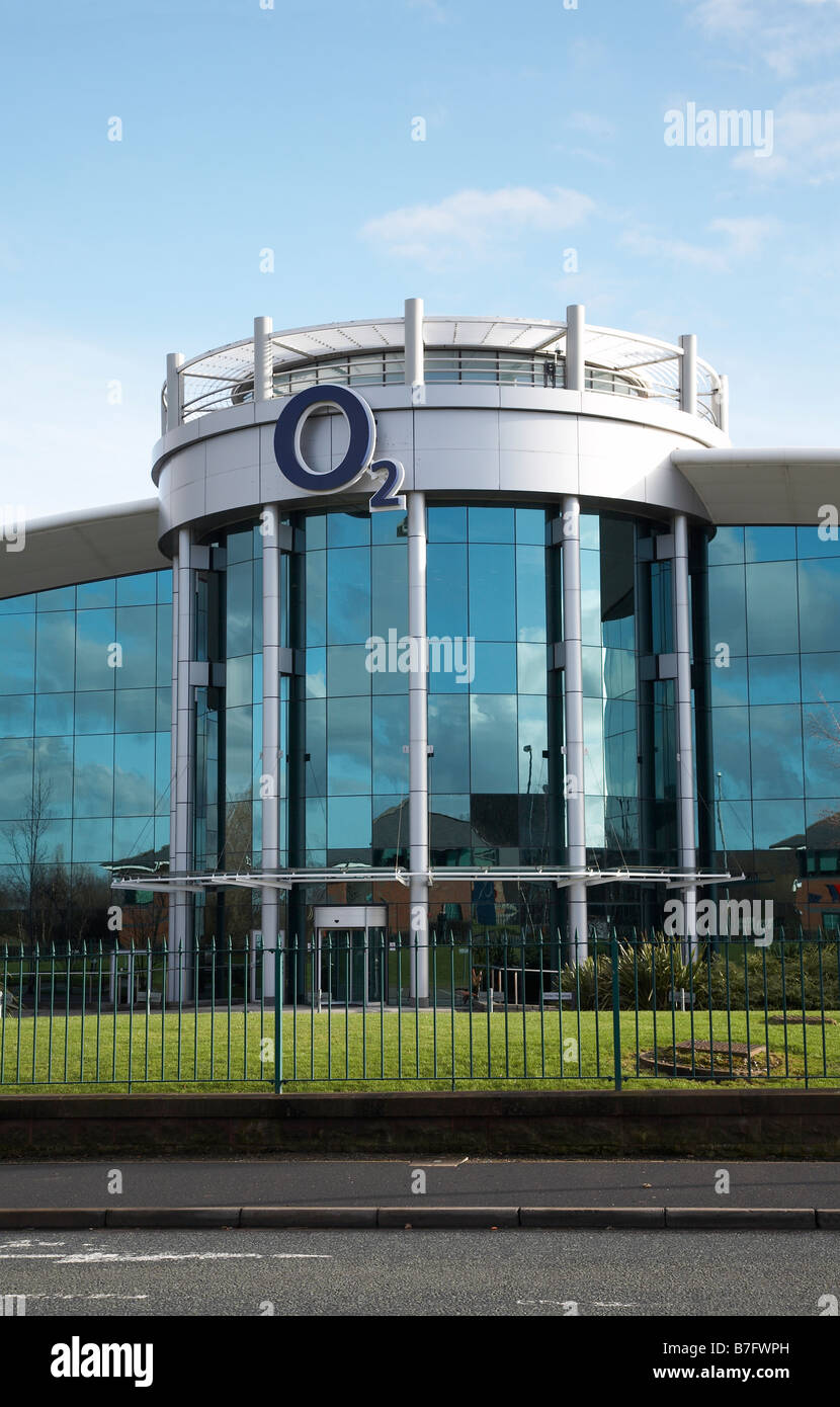 Entrance to O2 Call Centre in Preston Brook Cheshire UK - Stock Image