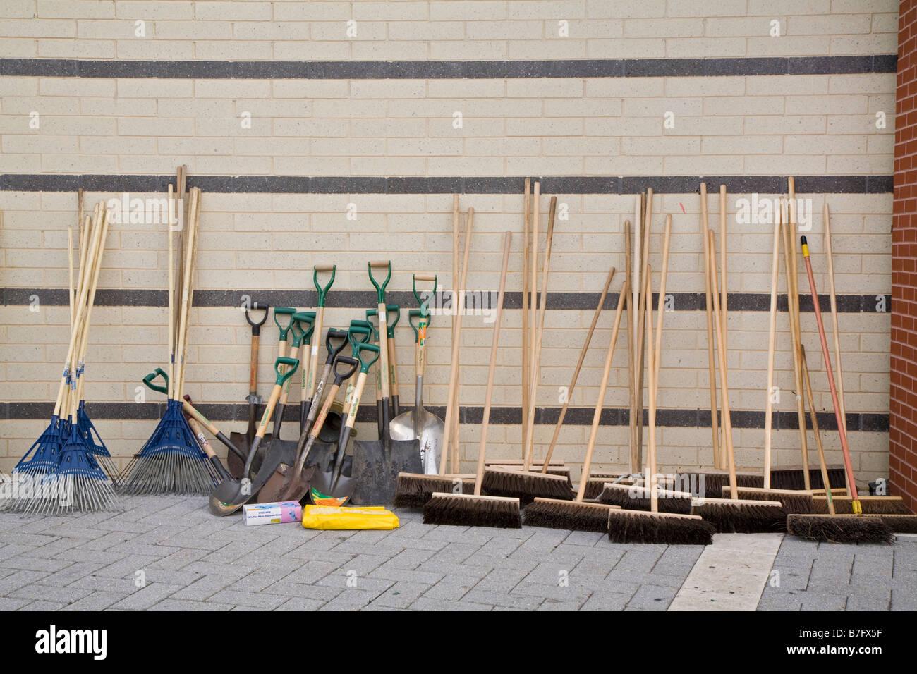 Tools for Volunteers in Neighborhood Cleanup - Stock Image