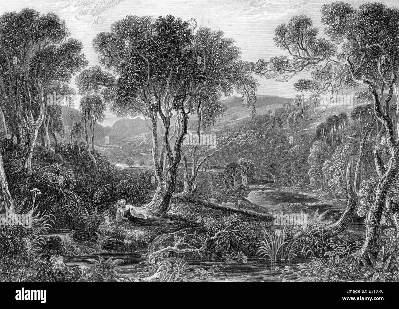 Glen Afton Dumfrieshire Engraving by David Octavius Hill 1802 to 1870 19th Century Illustration - Stock Image