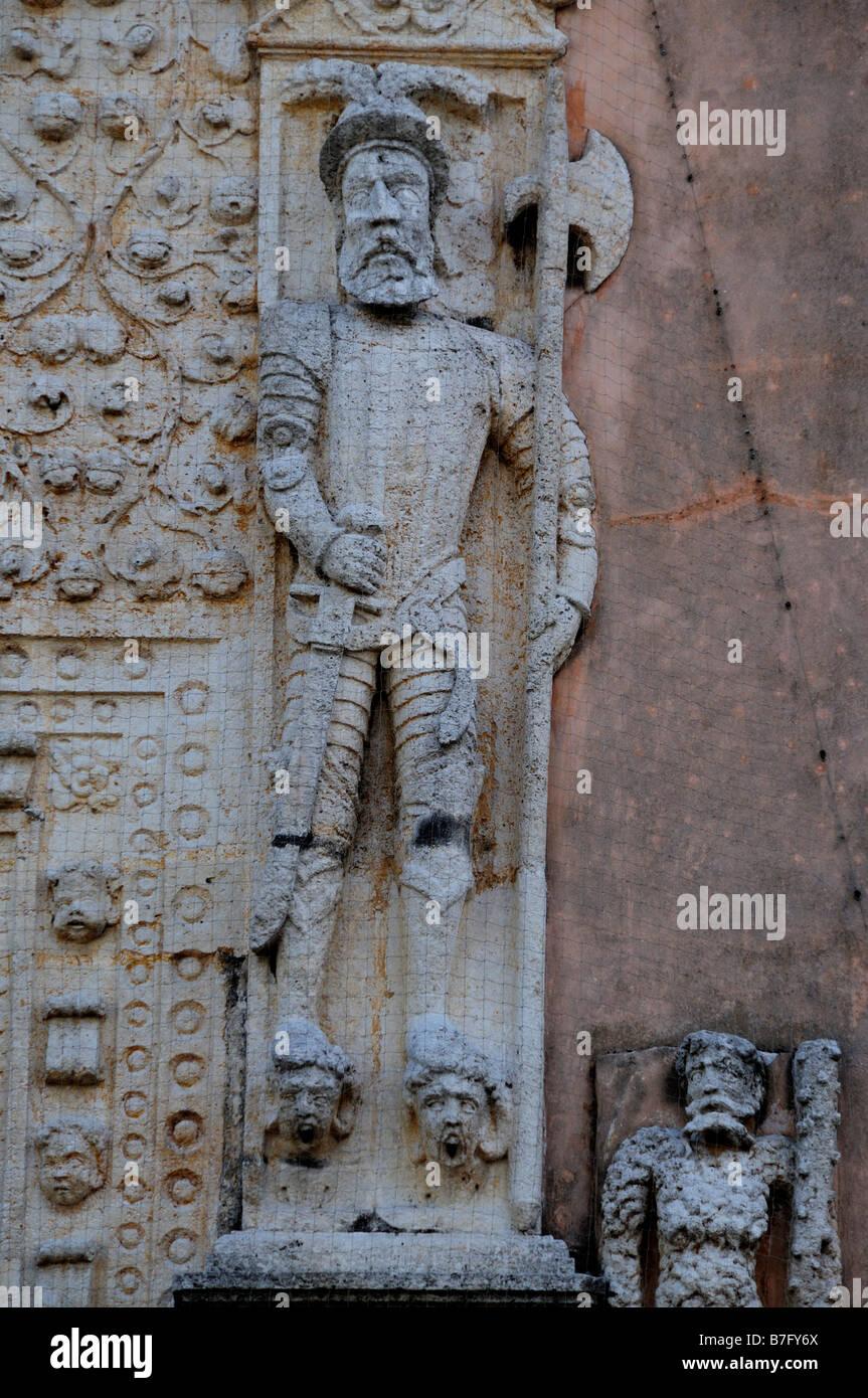 Statues of Spanish conquistadors on entrance to 16th century palace Casa de Montejo, Merida, Mexico Stock Photo