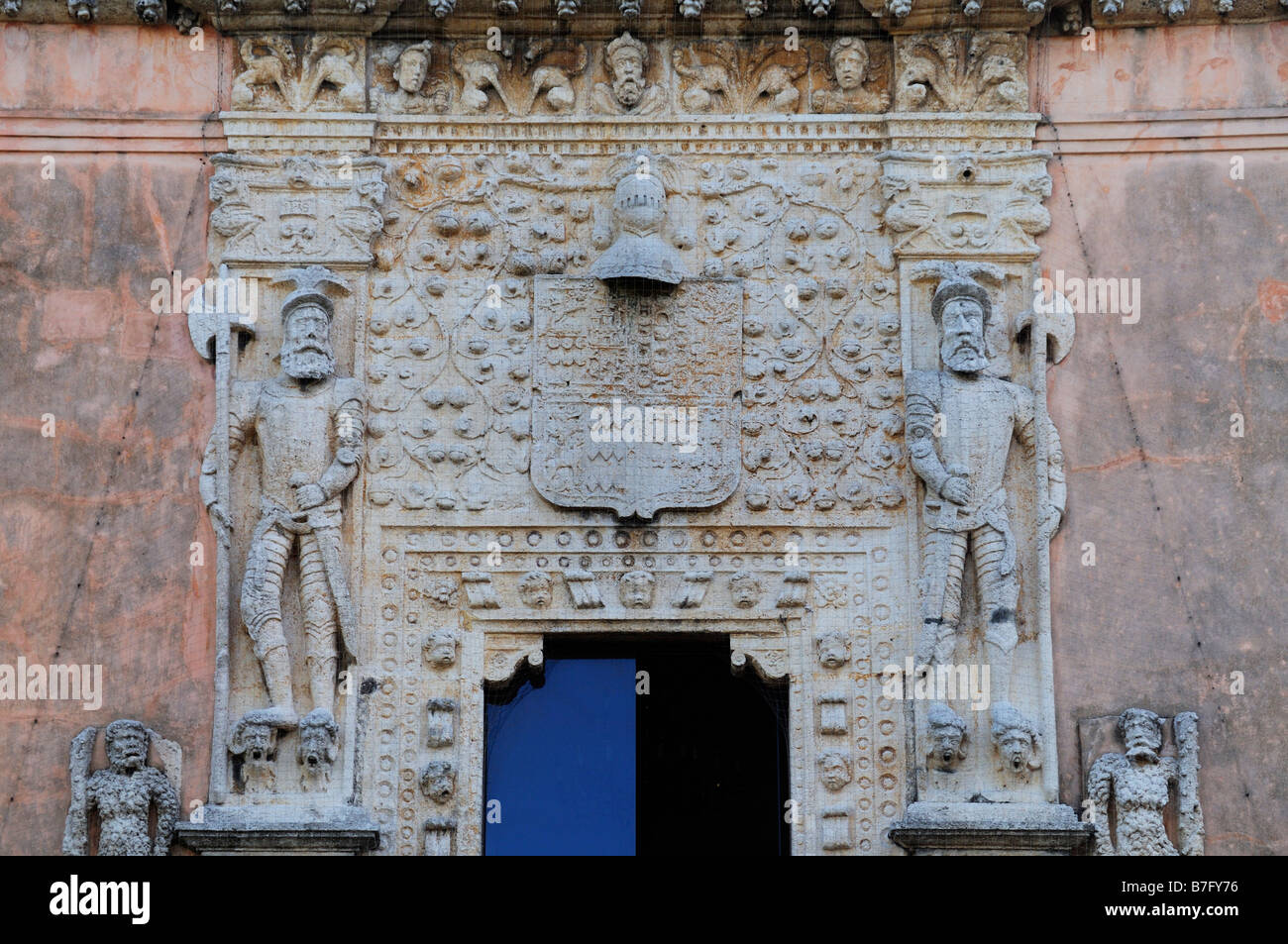 Statues of Spanish conquistadors on entrance to 16th century palace Casa de Montejo, Merida, Mexico Stock Photo