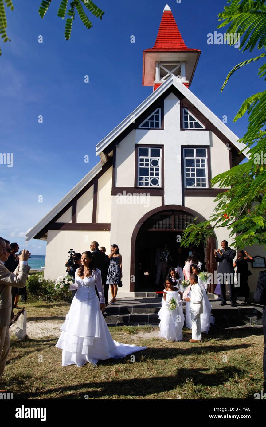 Wedding in Eglise de Cap Malheureux Mauritius Africa - Stock Image