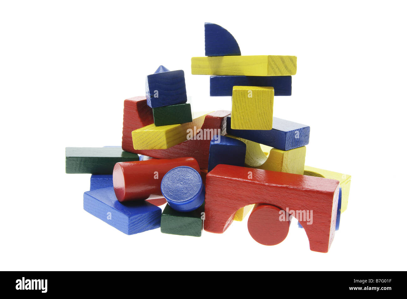 Stack of Wooden Building Blocks Stock Photo