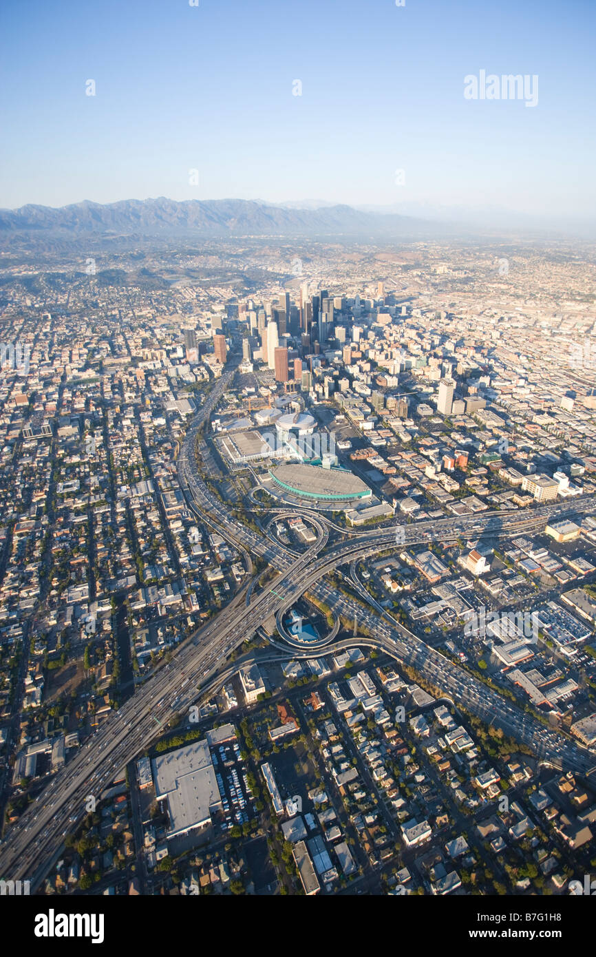 Downtown Los Angeles aerial looking North Late afternoon aerial view of downtown Los Angeles California - Stock Image