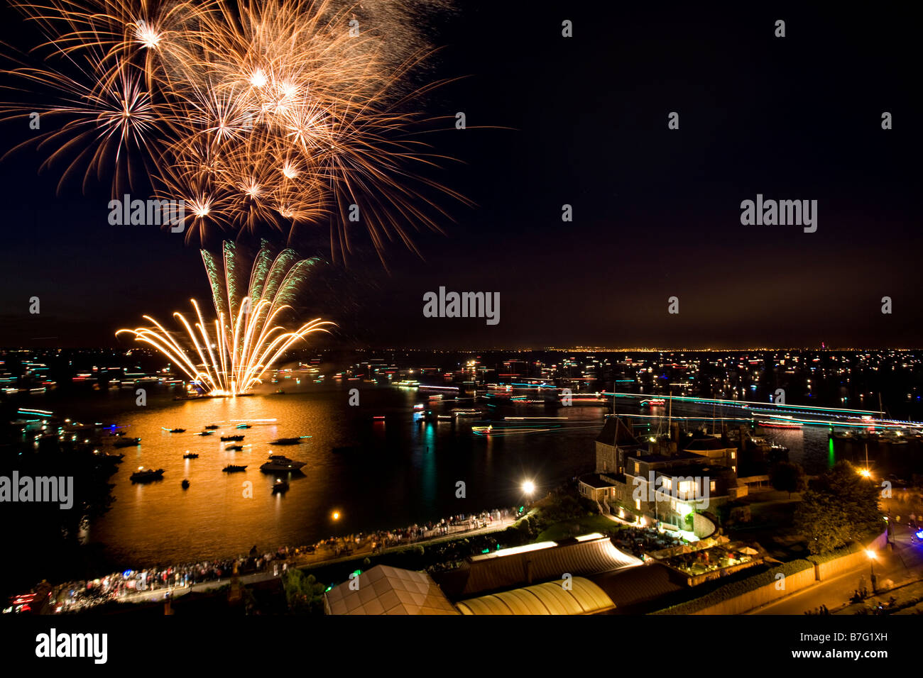 Fireworks, Cowes Regatta Week Stock Photo