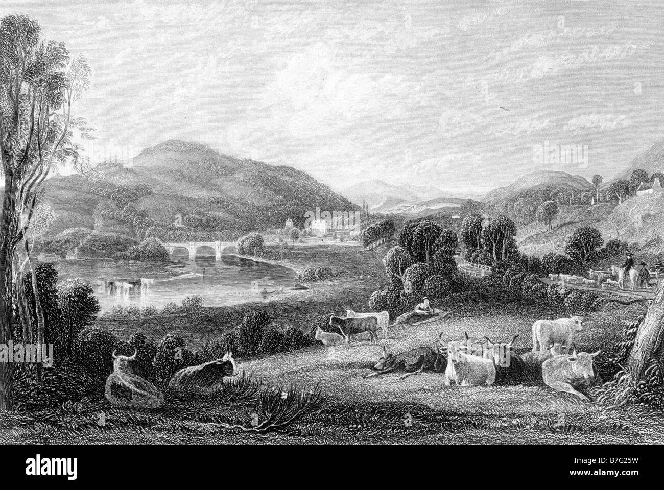 Scene on the River Nith Dumfrieshire Scotland Engraving by David Octavius Hill 1802 to 1870 19th Century Illustration - Stock Image